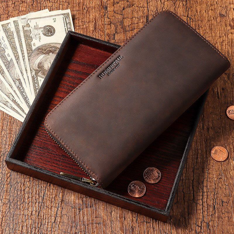 Men Genuine Leather Money Clip RFID Multi-card Slots Card Coin Purse Wallet