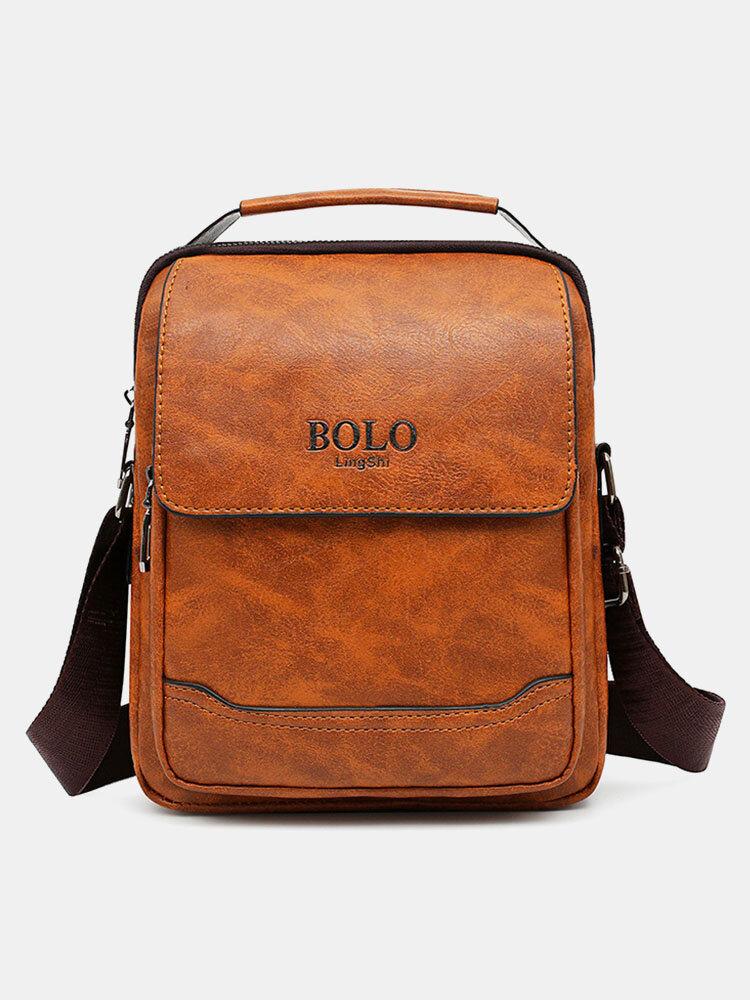 Men Large Capacity Quilted Design Faux Leather Scratch-resistant Anti-theft Crossbody Bag Shoulder Bag
