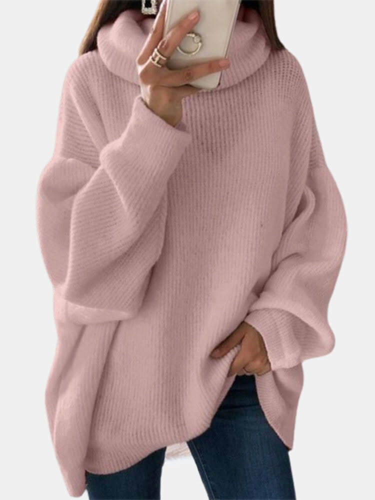 Women Solid Color High Neck Lantern Sleeves Casual Sweater