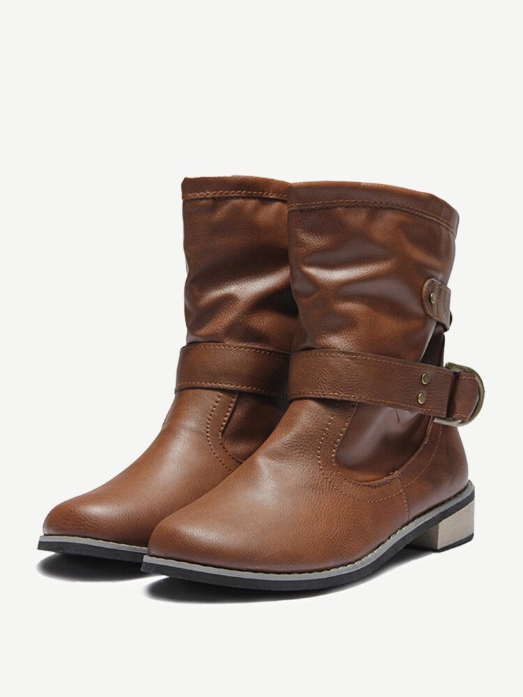 Buckle Mid Calf Slip On Flat Motorcycle Boots