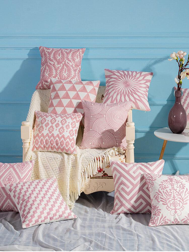 Fodera per cuscino in lino rosa Modello Fodera per cuscino in tessuto per la casa Fodera per cuscino mediterraneo