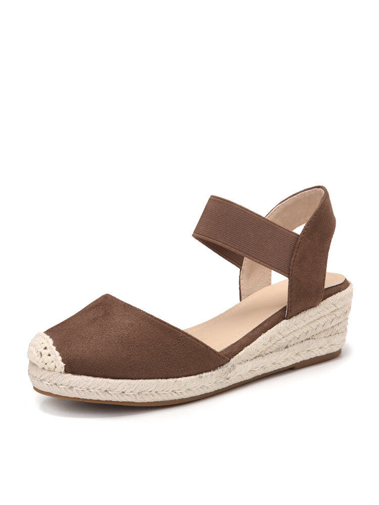 Women Casual Solid Lint Fabric Closed Toe Espadrille Wedges Sandals