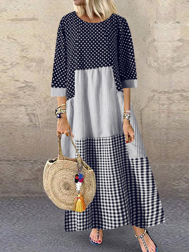Polka Dot Plaid Patchwork Long Sleeve Plus Size Maxi Dress