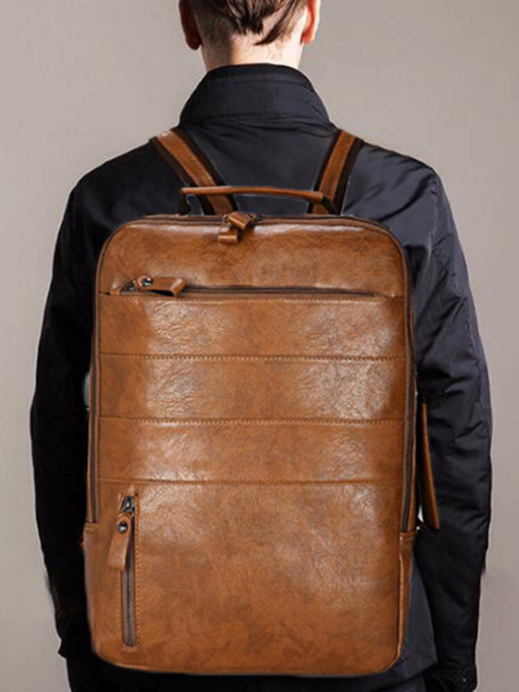Men Solid Casual Multifunction Laptop Flap Backpack