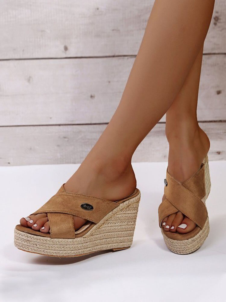 Women Large Size Solid Color Cross Band Casual Espadrille Wedges Slippers