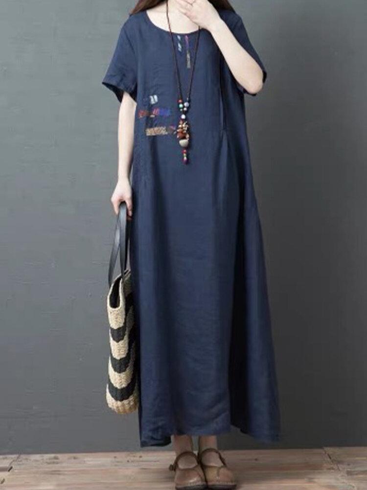 Print Patchwork Short Sleeve Loose Maxi Dress For Women