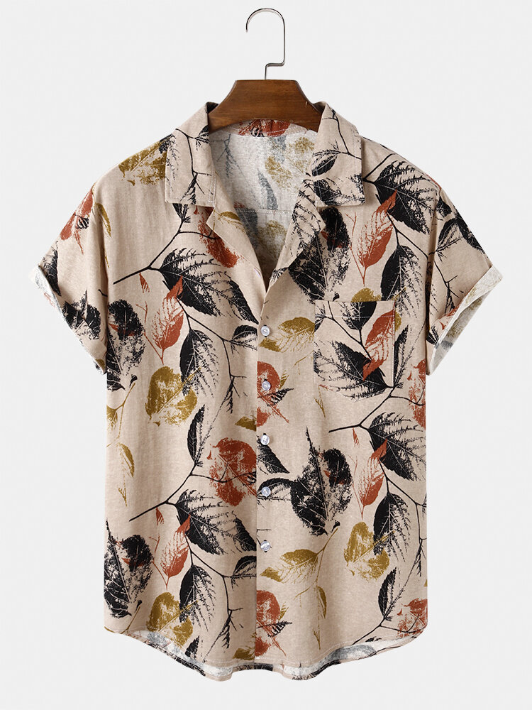 Mens Vintage Leaf Print Casual Thin & Fit Chest Pocket Short Sleeve Shirts