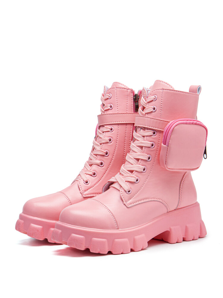Women's Round Toes Solid Color Large Size Lace Up Front Platform Boots