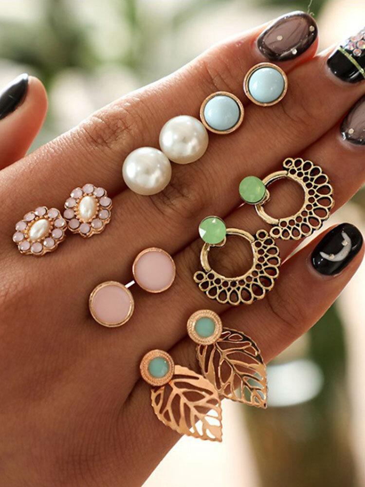 Sweet Style Earring Stud Set Flower Leaves Pearl Earrings Kit Women Rhinestone Earrings