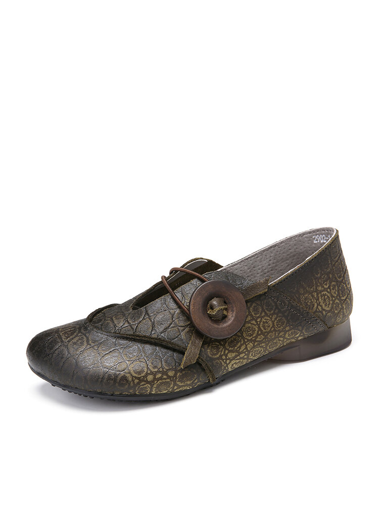 SOCOFY Snakeskin Grain Genuine Leather Circle Pattern Slip On  Soft Flat Loafers  Casual Shoes