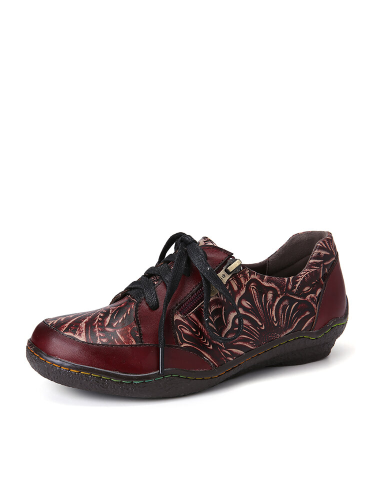 SOCOFY Handmade Leather Floral Splicing Stitching Side Zipper Lace-up Flat Shoes