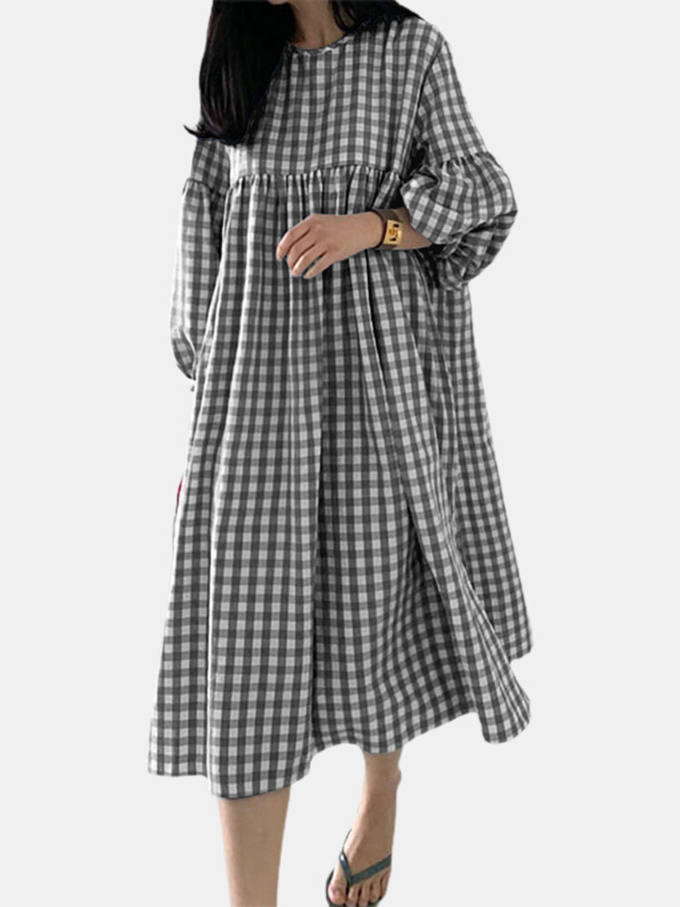 Plaid Print Pleated Puff Sleeve Casual Dress for Women