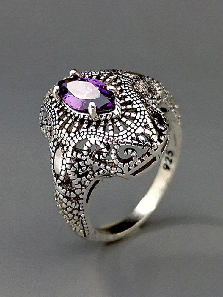 Vintage 925 Thai Silver Amethyst Ring Hollow Inlaid Diamond Women Ring
