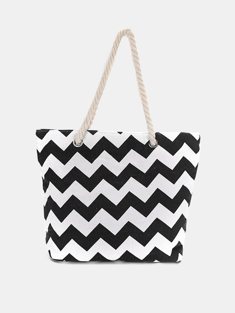 Women Wave Pattern Canvas Largre Capacity Handbag