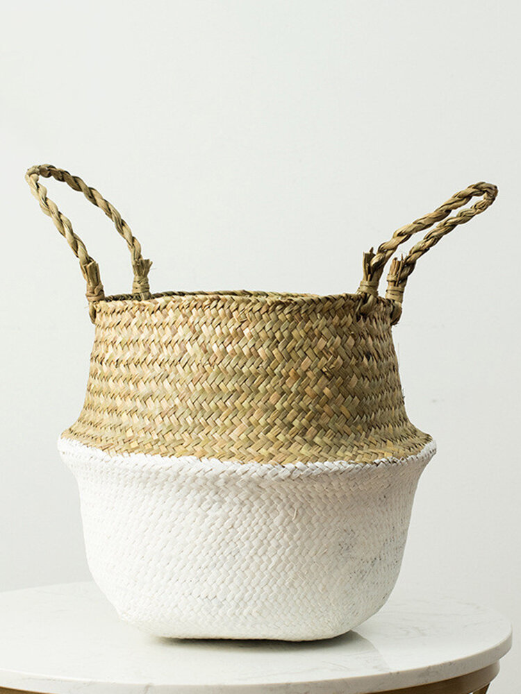 Household Foldable Natural Seagrass Woven Storage Pot Garden Flower Vase Hanging Basket With Handle