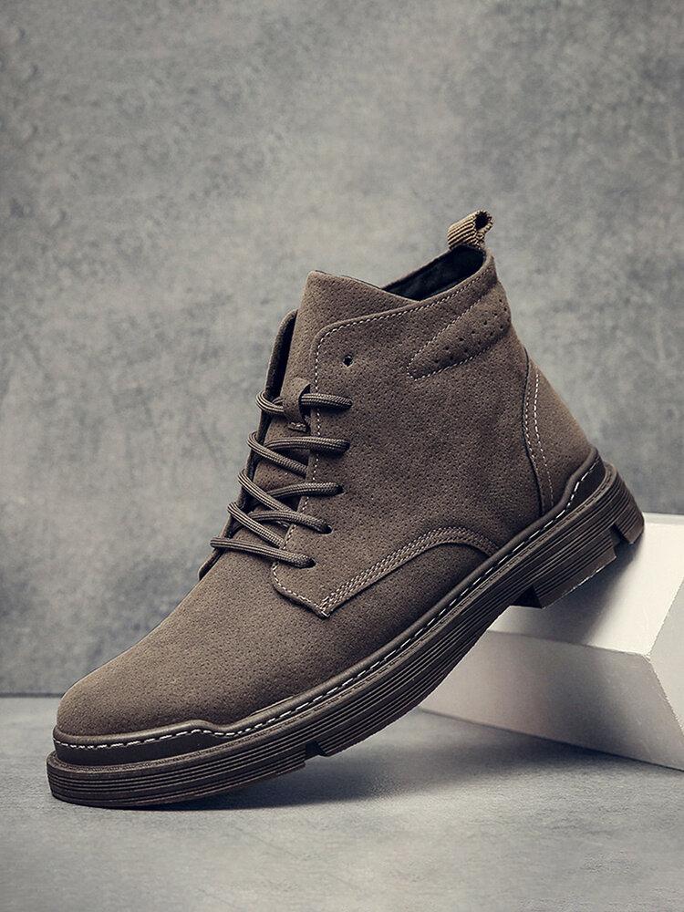 Men Retro Simple Microfiber Leather Non Slip Work Style Casaul Ankle Boots
