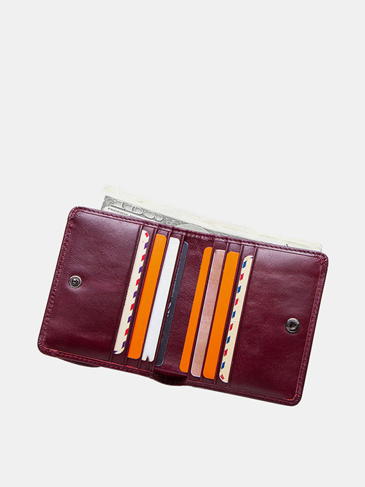 Women Genuine Leather Coin 8 Card Slots Bifold Wallet Purse