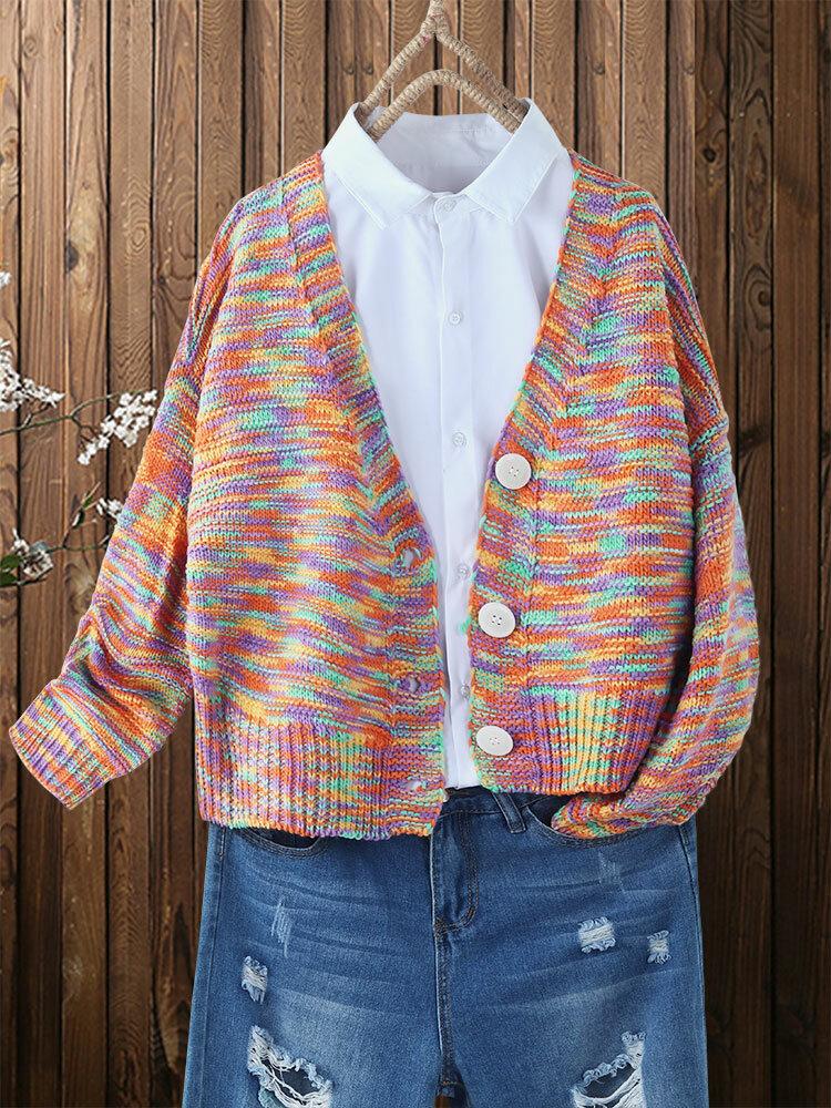 Rainbow Contrast Color Button Plus Size Vintage Cardigan