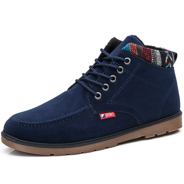 British Style Recreational Plush Lining Casual Lace Up Ankle Boots For Men
