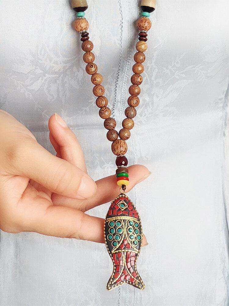 Vintage Ethnic Colorful Fish-shape Pendant Alloy Wood Beads Necklace