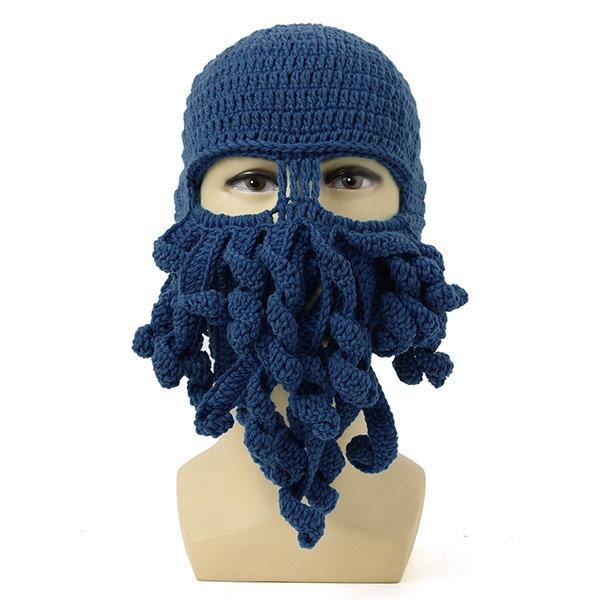 Men Women Winter Warm Octopus Squid Cap Knitted Crochet Wool Ski