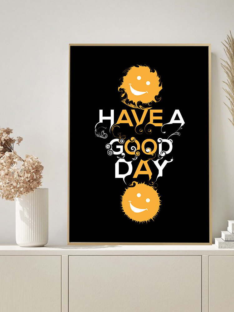1PC Unframed Cartoon Smile Letters Pattern DIY Canvas Painting Wall Art Canvas Living Room Home Decor Wall Pictures