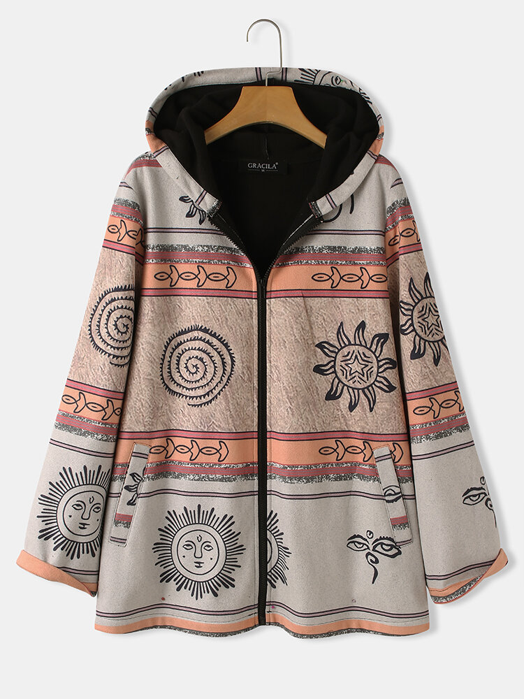 Vintage Priunted Ethinic Style Hooded Coat For Women