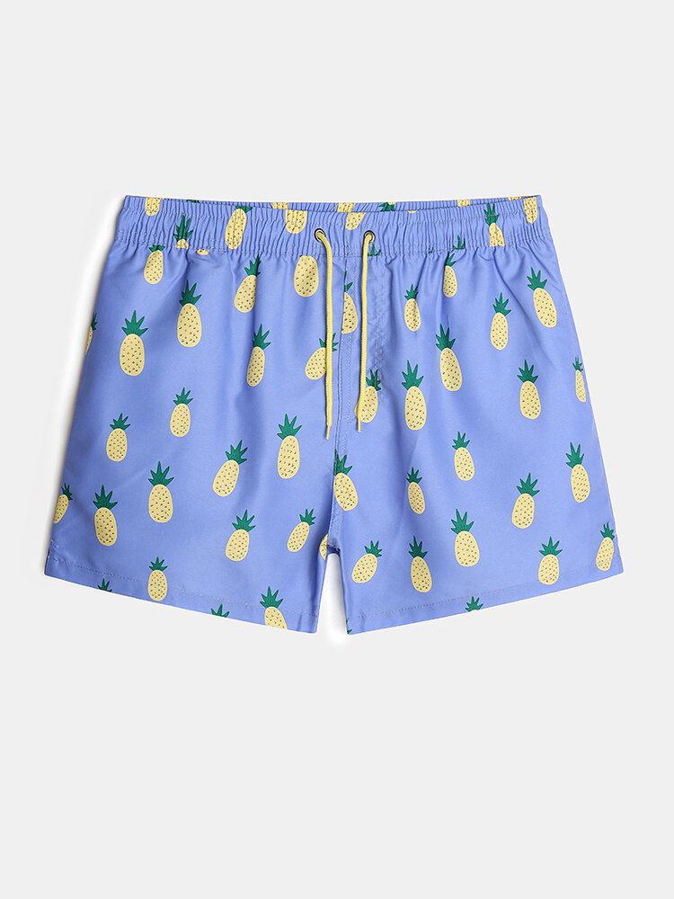 Mens Cartoon Pineapple Print Lined Swim Trunk With Pocket