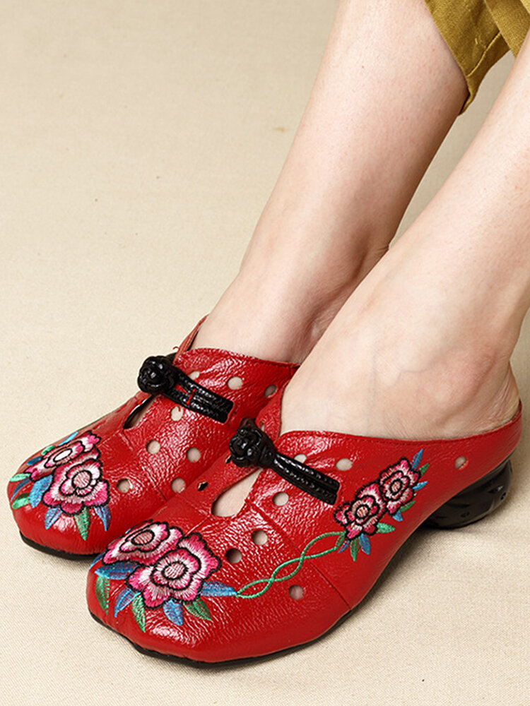 Socofy Retro Ethnic Floral Embroidered Hollow Out  Closed Toe Soft Sling Back Low Heel Mule Sandals