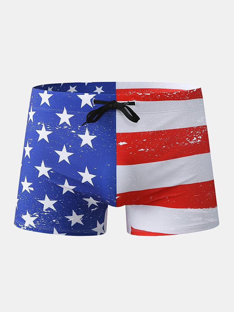 Men Print Swim Trunks America Flags Drawstring Letters Swimwear
