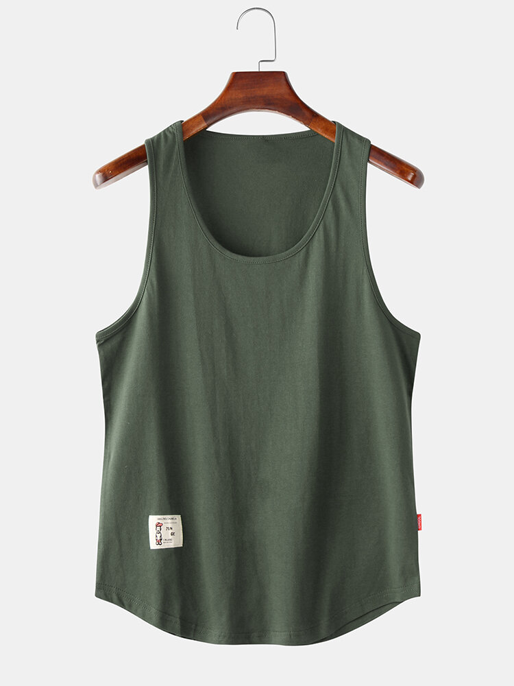 Mens Simple Solid Multi Color Casual Breathable Sleeveless Tank Top