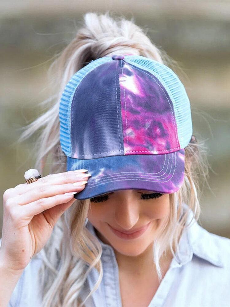 女性の綿のパッチワーク色通気性メッシュ中空野球帽