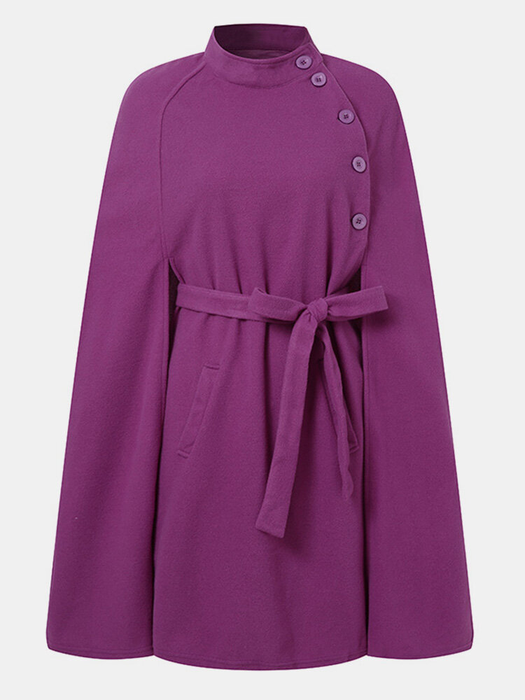 Solid Color Pocket Button Waistband Cloak Casual Coat for Women