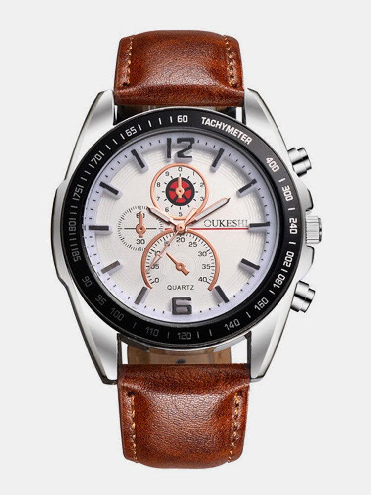 Business Style Men Wrist Watch Decorate Three Dials Leather Strap Quartz Watches