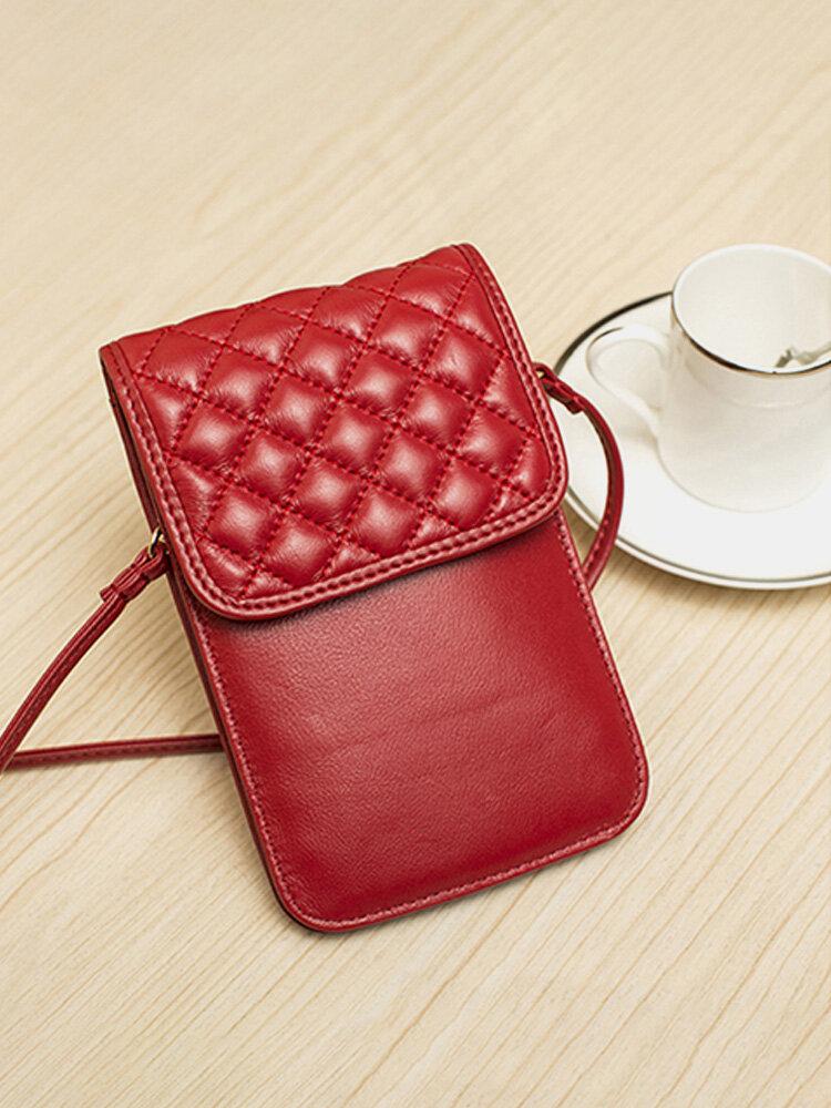 Women Genuine Leather Lingge Phone Bag Mini Crossbody Bag