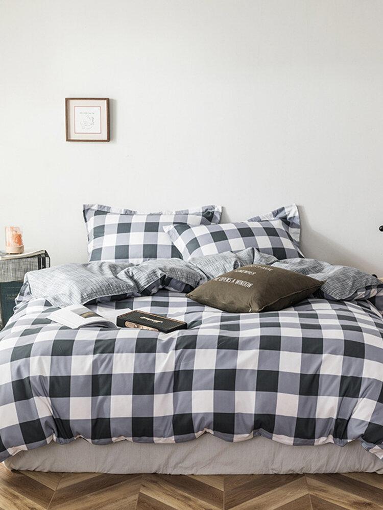 3/4 Stück Plaid Doppelseitige Bettwäsche aus Aloe-Baumwolle Hautfreundlich Soft Kissenbezug mit Bettbezug