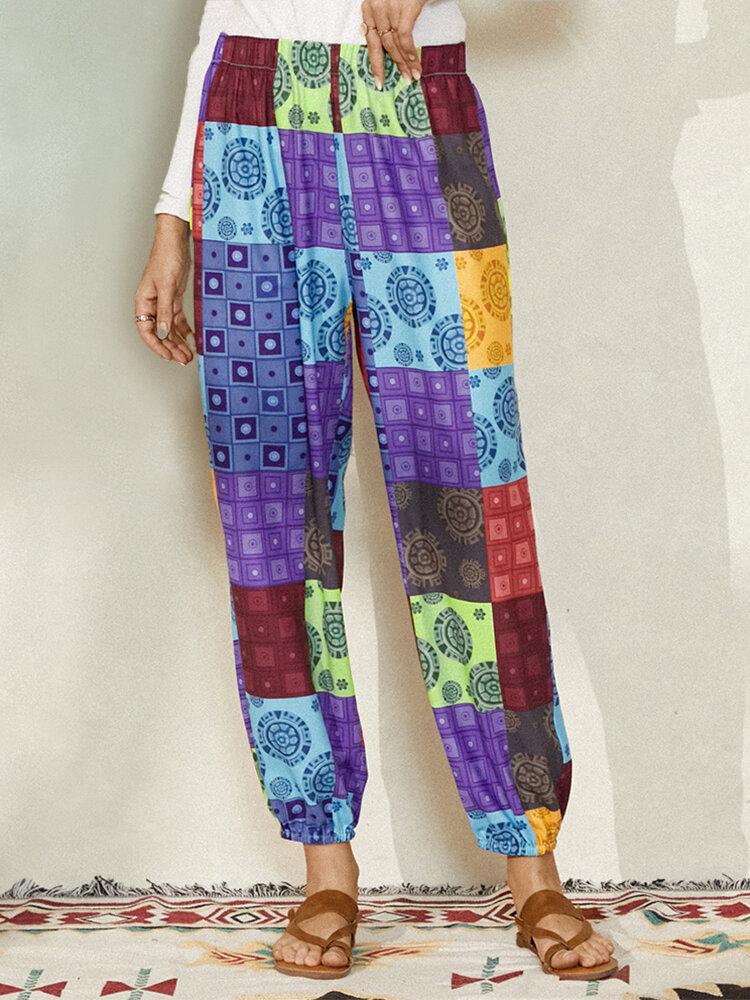 Vintage Ethnic Print Elastic Waist Long Casual Pants for Women
