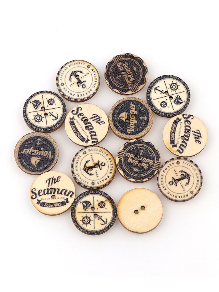 50Pcs Vintage British Style DIY Wooden Buttons Sewing DIY Materials