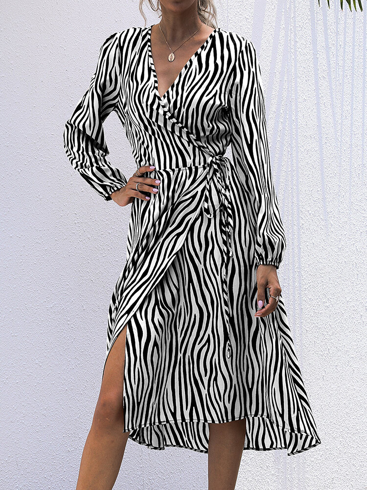 Zebra Striped Print Knotted Asymmetrical Long Sleeve Casual Dress for Women