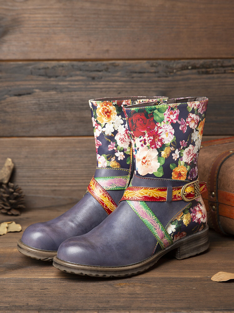 SOCOFY Elegant Metal Buckle Decor Floral Pattern Genuine Leather Comfy Round Toe Zipper Short Boots