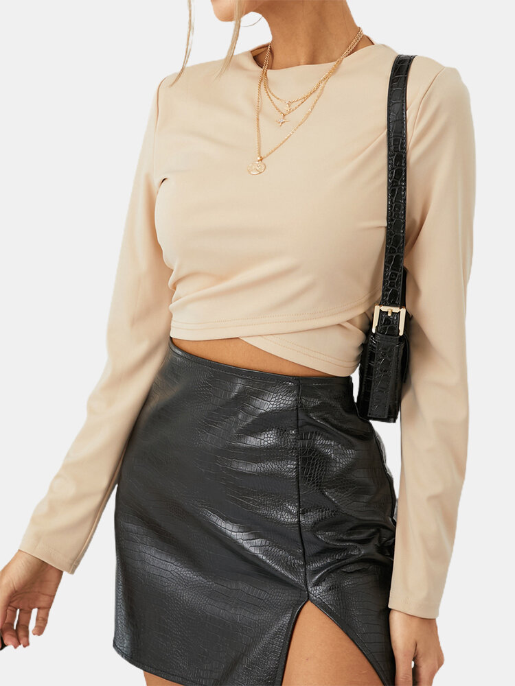 Solid Color O-neck Long Sleeve Casual Crop Top For Women
