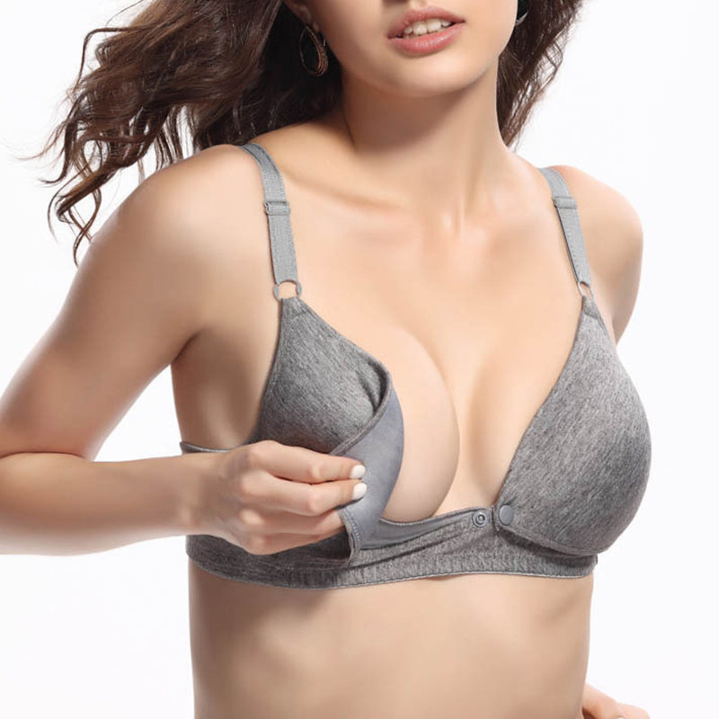 Solid Color Front Button Wireless Maternity Nursing Bra For Pregnant Women