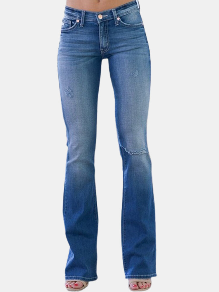 Solid Color Button Casual Ripped Demin Jeans For Women