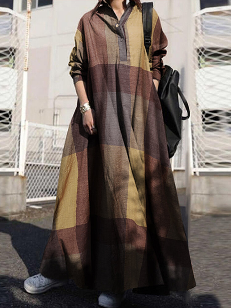 Plaid Print Lapel Long Sleeve Button Plus Size Maxi Dress with Pockets