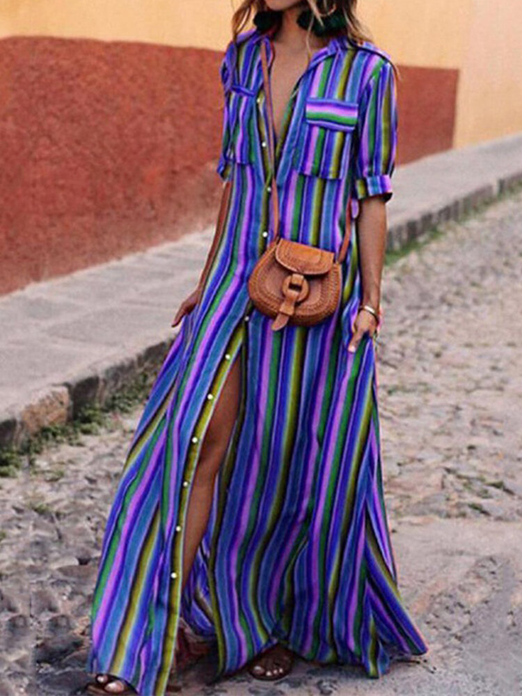 Casual Striped Printed Half Sleeve Button Lapel Dress With Pocket
