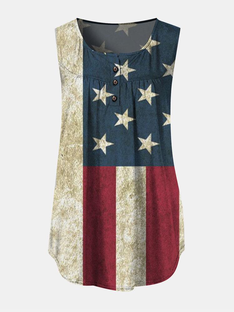 Independence Day Stars Stripe Print Sleeveless O-neck Women Tank Top