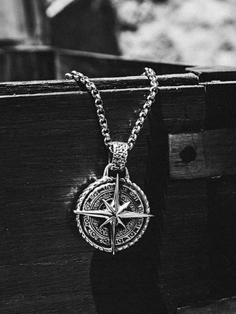 Punk Hip-hop Stainless Steel Compass Long Sweater Necklace