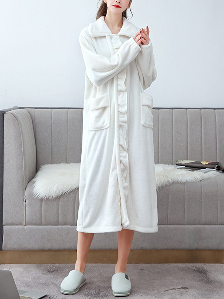 Women Flannel Solid Lapel Front Button Long Sleeve Thicken Warm Robes With Pockets