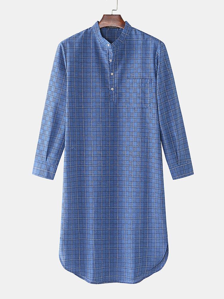 Mens 100%Cotton Gingham Kaftan Half Open Collar Breathable Casual Robes