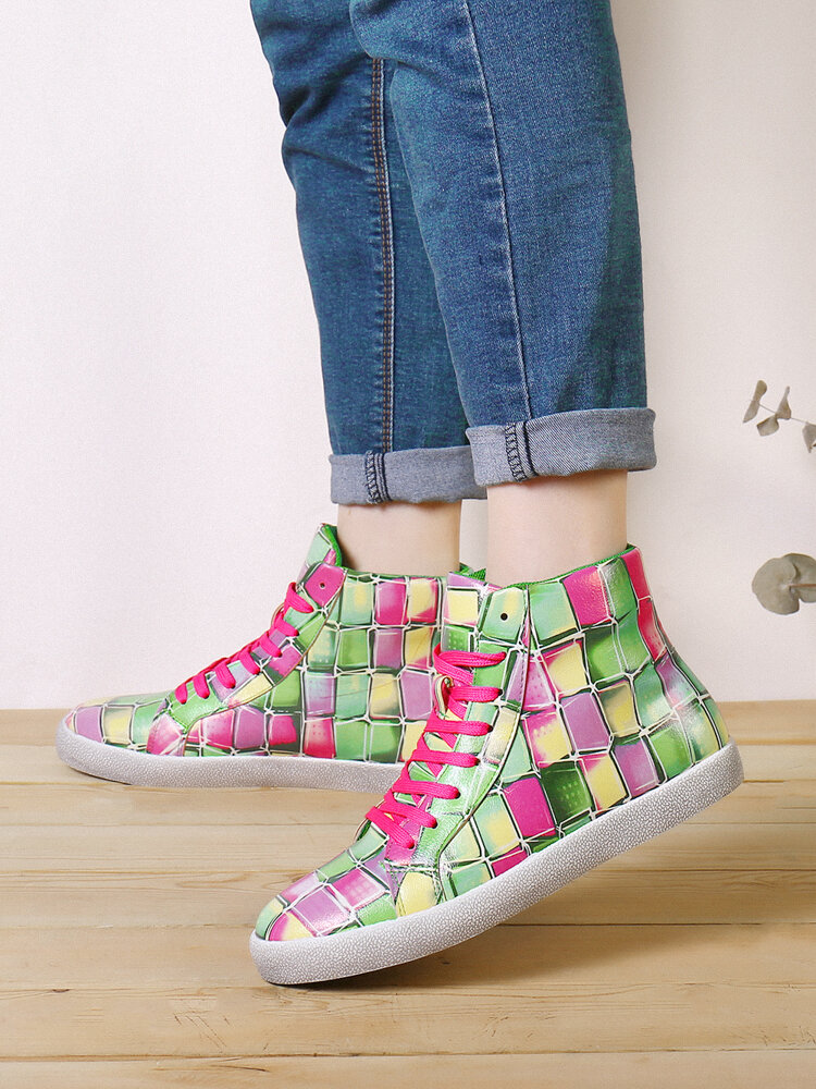 SOCOFY Women Checkered Colorful Jelly Printed Comfy Wearable Lace Up Casual Flat Stitching Plaid  Casual Sneakers Running Walking Shoes Skate Shoes High-top Sport Shoes For Easter Gifts